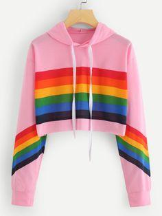 Rainbow Striped Print Crop HoodieFor Women-romwe