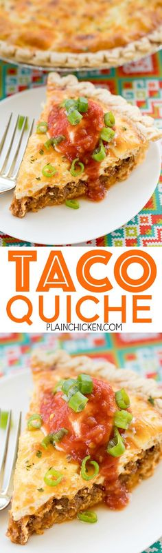 Taco Quiche - quiche loaded with taco meat, salsa and cheese. Top with your favorite taco toppings for a fun twist to taco night! Can assemble quiche and freeze unbaked for a quick meal later. I like to double the recipe and bake one and freeze one for la
