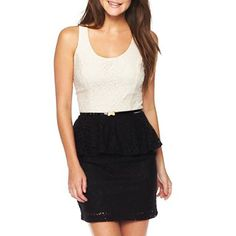 Heart & Soul® Two-Tone Sleeveless Lace Dress - jcpenney