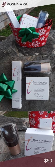 Jane Iredale Foundation/under eye conc NWT never opened amazing base loose powder and butternut matching active light under eye concealer in number 5 and a kabuki foundation brush for application of powder. My salon is changing makeup lines and all this beautiful Jane Iredale at a great price. Jane Iredale Makeup