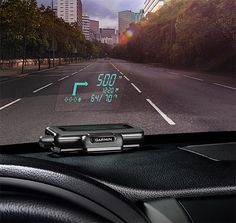 Garmin's Heads-Up Display projects navigation instructions onto your car's windshield as well as speed, traffic, and safety camera alerts.  It works seamlessly with information provided by your iPhone, Samsung Galaxy, and Windows Phone device.