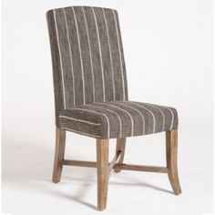 Grey Stripe Fabric Dining Chair Set 2