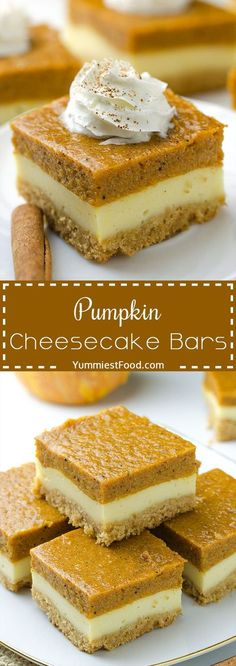 Pumpkin Cheesecake Bars - Will make for a super tasty sweet treat during the fall and holiday season. This perfect Pumpkin Cheesecake Bars is delicious and very good! Perfect Thanksgiving Dessert!