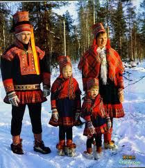 lapland family in traditional headwear
