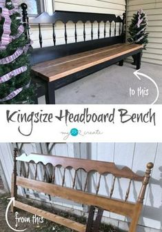 Headboard Bench Ideas repurposed furniture projects that you can make this weekend. Lots of ideas and directions for each headboard bench. Diy Outdoor Furniture, Furniture Projects, Furniture Making, Home Projects, Home Furniture, Modern Furniture, Cheap Furniture, Rustic Furniture, Furniture Stores