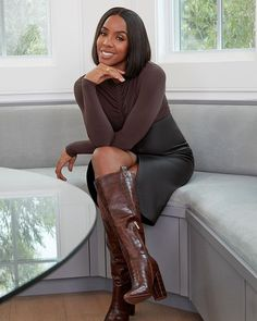 How sexy are these faux-croc boots?! This chocolate color!!! Shop the Wren Boots in my #KellyRowlandxJustFab collection at my link in bio. #JustFabPartner Chocolate Girls, Chocolate Color, Crocs Boots, Kelly Rowland, Shoes Online, Personal Style, High Neck Dress, Sexy, Wren