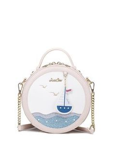 Pink PU Sweet Zipper Round Crossbody Bag