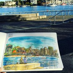 Sketching after work again today at Yaletown quayside. Uni-ball pen and Sakura Koi watercolors, 1 hour. The heat of summer is gone now. 😎 The days are warm and bright. 🍁☀️ #caobeckysketch
