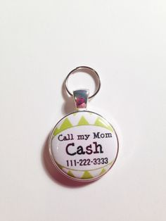 PERSONALIZED DOG ID tag,phone number, pet name, Call My Mom, fun affordable, cute dog tag, affordable, Pet Tag Lime Green for Puppy by AnnmarieJewelryTree on Etsy