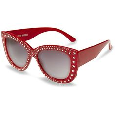 Steve Madden SMR88302 Sunglasses (€29) ❤ liked on Polyvore featuring accessories, eyewear, sunglasses, red, red cat eye sunglasses, tinted lens glasses, red sunglasses, red cateye glasses and star sunglasses