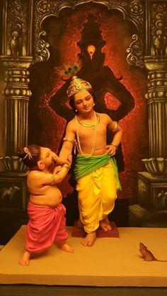 Krishna and Ganesha Shri Hanuman, Shri Ganesh, Ganesha Art, Durga, Shiva Hindu, Shiva Shakti, Hindu Deities, Ganesh Images, Lord Krishna Images