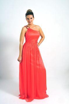 Vestido largo estilo griego asimétrico en color coral  modelo 69012