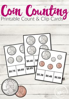 Practice coin values and adding money together with these fun and free coin counting printable clip cards for kids!