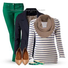 Navy & Green, created by uniqueimage on Polyvore