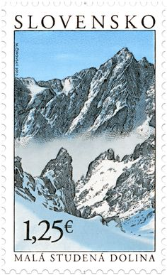 The Small Cold Valley, Tatra range in the Carpathian Mountains.  Slovak Stamp, circa 2013