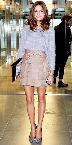 grey long sleeve blouse + metallic sheen/nude skirt <3