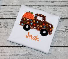 Boy's Pumpkin Truck Halloween Shirt, Boy's Pumpkin Shirt, Halloween Truck, Pumpkin Shirt, Personalized Pumpkin by thesimplyadorable on Etsy