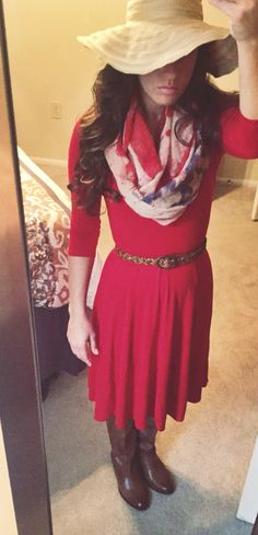 Red Dress. Hat. Flag Scarf. Ridding Boots. Modest Fashion.