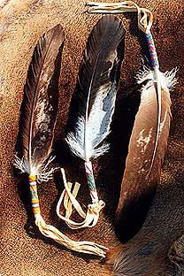 A single feather may be used for smudging, prayer, calling to Spirit helpers, healing and many other medicine uses. The quill of the feather is wrapped in buckskin and beaded in peyote stitch beadwork. http://www.nicholaswood.net/Pages/Feathers.htm