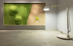 Green Dunes is a large SAG Smart Acoustic Green vegetal picture with an awesome vegetal sculpture depicting dunes. Green Dunes, instead of sandy ones plus an iconic lonely green tree. Moss Wall Art, Moss Art, Island Moos, Green Interior Design, Flora Design, Deco Originale, Plant Wall, Wall Design, Architecture Design