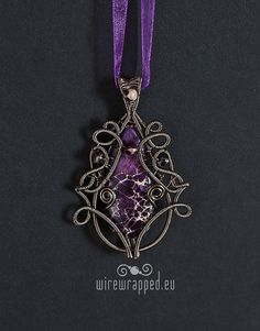 Fantasy inspired purple wire wrapped pendant