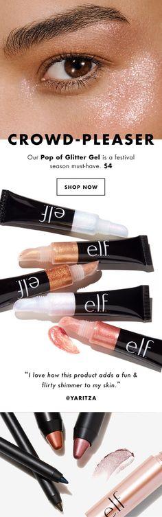 Crowd pleaser = Pop of Glitter Gel #glitter #mua #makeup #elfcosmetics