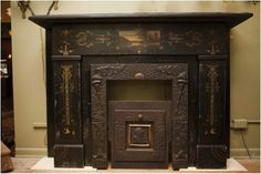 Late Victorian slate fireplace mantel with a hand-painted seen of the Hudson Valley, absolutely stunning! At Materials Unlimited in Ypsilanti, Michigan