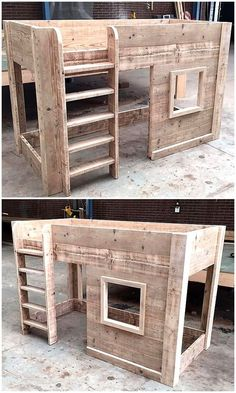 Incredible DIY Pallet Ideas and Projects This pallets wooden kid's bed house is crafted for the sweet and comfortable sleep of your kids. This is another mind-blowing creation by recycling wood pallets. It looks classic in organic wood Diy Pallet Furniture, Diy Furniture Projects, Repurposed Furniture, Bar Furniture, Woodworking Projects, Furniture Movers, Wooden Furniture, Luxury Furniture, Recycling Furniture