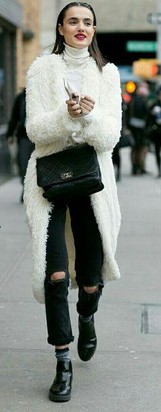 Oversized long white fluffy cardigan | black velvet quilted Chanel bag