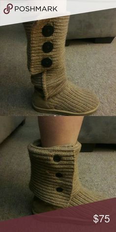 ~UGG's~ Cardy style Awesome UGG's. EUC. No stains or tears. Adorable with a denim skirt or shorts. Tan color. Im a 6.5-7 and these fit perfect. UGG Shoes Ankle Boots & Booties