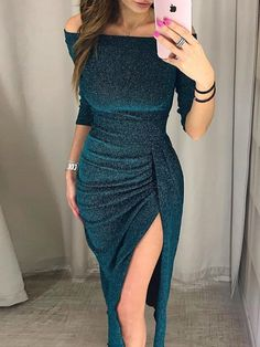 Shop Party Dresses Shiny Off Shoulder Ruched Thigh Slit Party Dress. Shop Party Kleider Shiny Off Shoulder Geraffte Oberschenkel Slit Party Kleid. Evening Dresses, Prom Dresses, Wedding Dresses, Party Dresses For Women, Formal Dresses, Nice Party Dresses, Winter Party Dresses, Semi Formal Outfits For Women Parties, Bridesmaid Dress