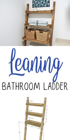 Easy to make over the toilet storage leaning shelf - add storage for towels and toiletries without drilling holes in the wall! You'll love our step by step plans with diagrams. #anawhite #diy #bathroom #organization #storage #woodworking Woodworking Inspiration, Woodworking Projects Diy, Woodworking Plans, Diy Home Projects Easy, Wood Shop Projects, House Projects, Leaning Shelf, Eclectic Bathroom, Bathroom Organization