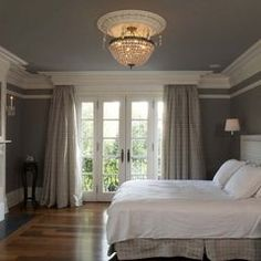 Master bedroom, painted ceiling, chandelier