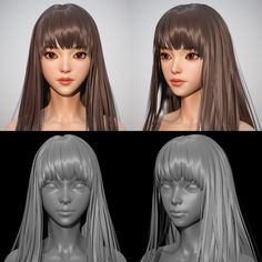 Olivia Hair Work, Shin JeongHo Hair Modeling by Thank you. Zbrush Character, 3d Model Character, Character Modeling, Character Design, Character Concept, Game Character, Maya Modeling, Modeling Tips, Zbrush Hair