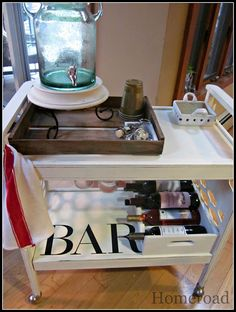 DIY repurposed bar cart www.homeroad.net