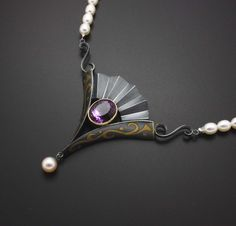 Necklace | Kazuhiko Ichikawa. Sterling silver with patina, gold foil, 18k gold, amethyst  and fresh water pearls.