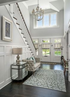 amazing Farmhouse Front Door Entrance Decor And Design Ideas - Home & DIY Staircase Wall Decor, House Design, House, Foyer Decorating, Luxury Homes, New Homes, House Interior, Luxury Interior Design, Grey Exterior