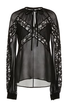 Crepe Georgette and Lace Long Sleeve Blouse by Elie Saab for Preorder on Moda Operandi