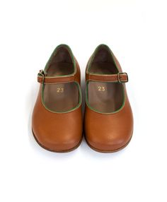 Brown leather mary jane shoes by Caramel Baby & Child
