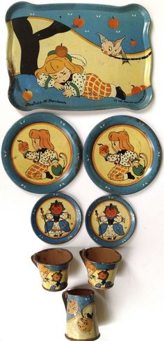 "Vintage 1941 Ohio Art tin-litho toy tea set B.H.K. Benjamin ""William Tell"" #OhioArt"