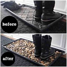 Boots tray filled with river rocks: 36 Amazing Ideas Adding River Rocks To Your Home Design