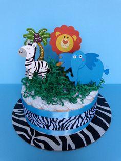 Safari Theme Diaper Cake | Jungle Themed Diaper Cake - Diaper Cake - Diaper Cake Centerpiece