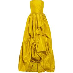 Oscar de la Renta Silk taffeta gown ($3,155) ❤ liked on Polyvore featuring dresses, gowns, vestidos, oscar de la renta, yellow dress, yellow strapless dress, pintuck dress, pleated gown and strapless evening dresses