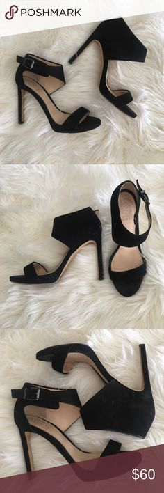 Vince Camuto Black Strappy Heels Like Brand New! Worn once. Black ankle straps! So comfy and super sexy! Just a tad small for me otherwise these babies would be in my closet! Shoes Heels