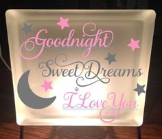 Frosted Glass Block with Light & Stand, Good Night, Sweet Dreams, I Love…