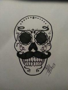 Skull mustache art
