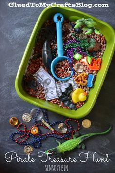 Fun and creative themed sensory bin idea!! :|: Glued to my Crafts: Pirate Treasure Hunt