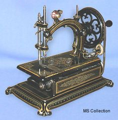 """❤✄◡ً✄❤ Manufactured by the French Hurtu Company during the 1870's, """"La Productive"""" is considered by many today to be their most desirable model.  It is beautifully adorned in gilt and mother of pearl. - http://www.dincum.com/library/lib_hurtu_la-productive.html"""