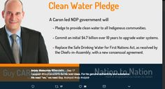 Great promotional picture of Guy Caron pledging to clean water for the environment. He has a plan if elected to commit 4.7 billion over 10 years to clean water. Everyone loves clean water and it shows that Guy Caron is invested in clean water and people. The picture is short and simple with lots of bold fonts. Easy to read and understand