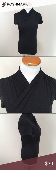 Meadow Rue Anthropologie Black Faux Wrap Top Small N Anthropologie Tops Blouses
